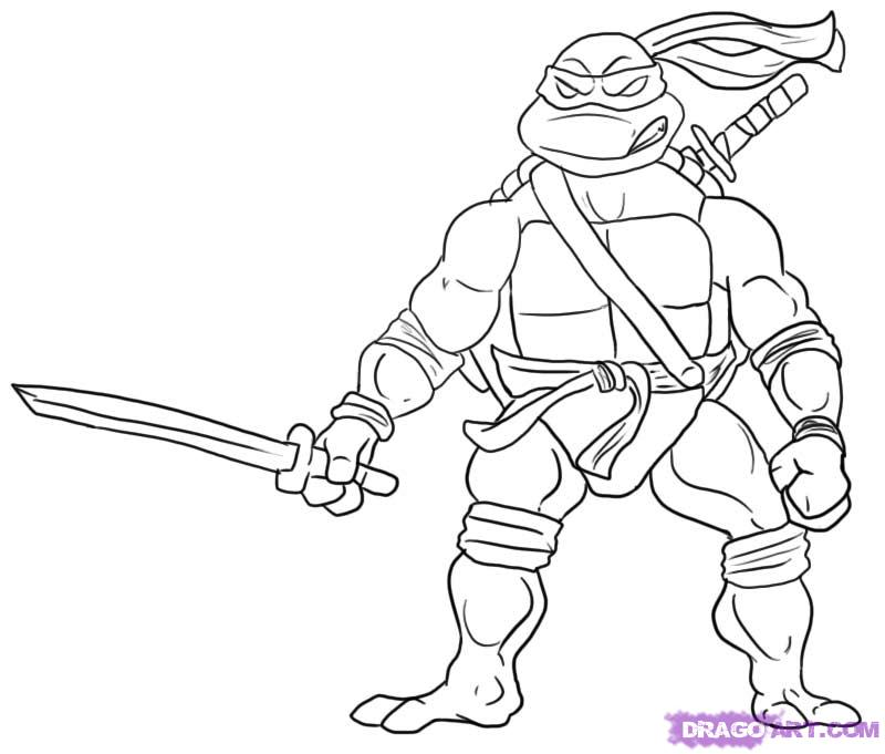 How to Draw Leonardo from Teenage Mutant Ninja Turtles, Step by