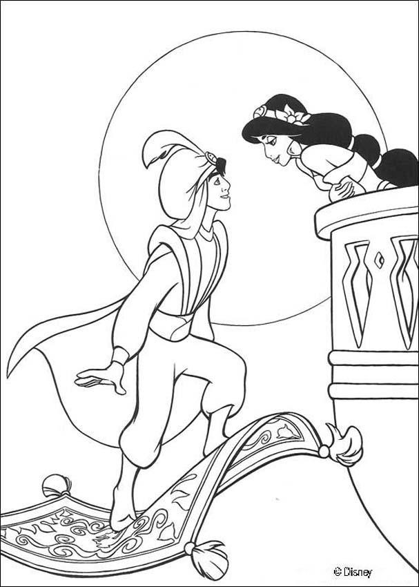 Aladdin coloring pages - Princess Jasmine and her pet tiger