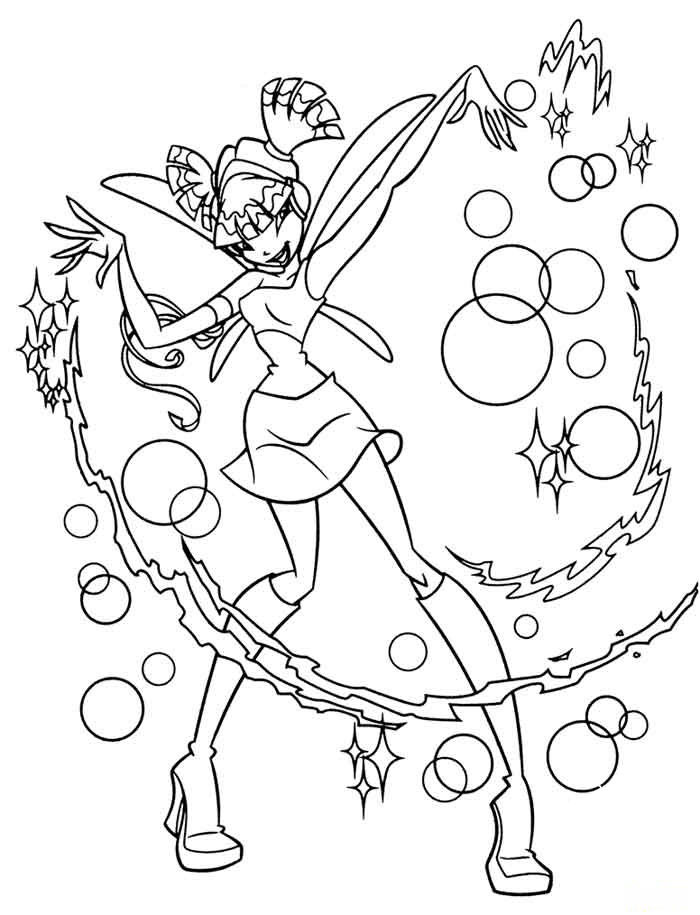 Fairy Winx Bloom Coloring Page Tattoo