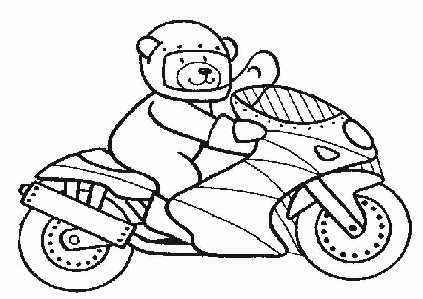 Bär Auf Einem Motorrad Malvorlage Az Ausmalbilder