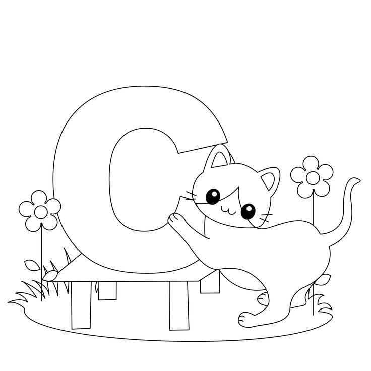 Animal Alphabet Letter C is for Cat! | Alphabet coloring pages | Pint…