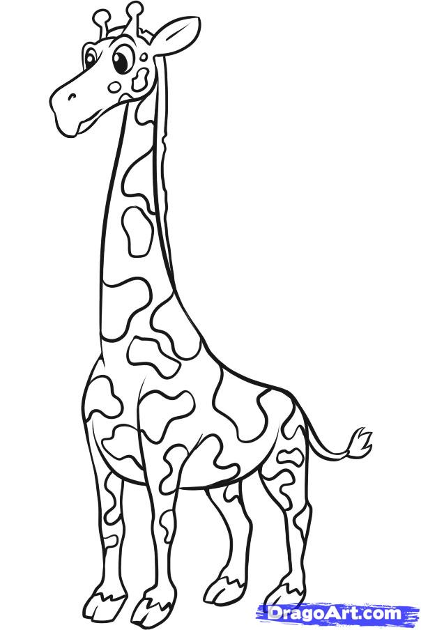 How to Draw a Simple Giraffe, Step by Step, safari animals