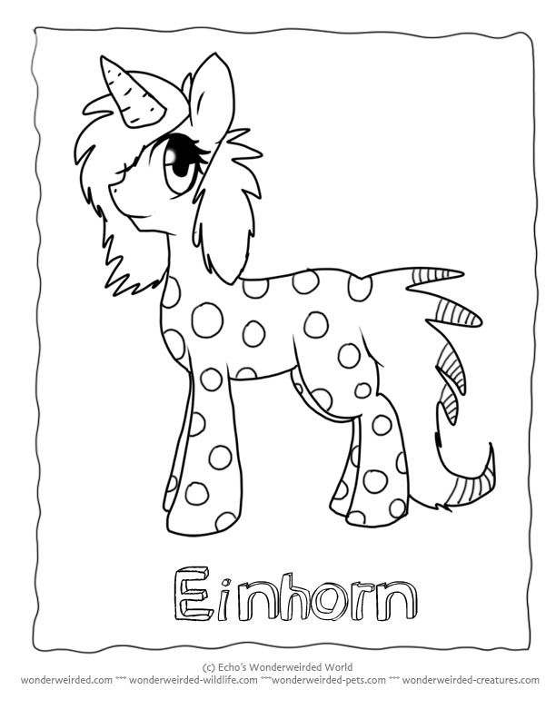 Cartoon Unicorn Coloring Pages, Echo's Cartoon Unicorn Coloring