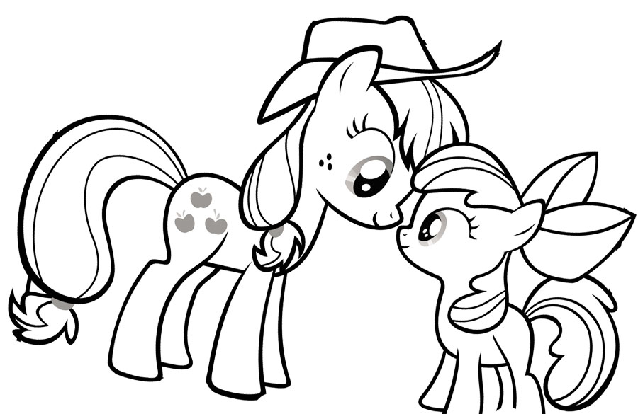 My Little Pony Looking At Each Other Coloring Page Kidsycoloring