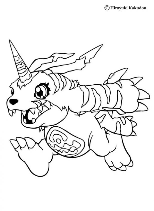DIGIMON Coloring Pages - Garurumon - AZ Ausmalbilder