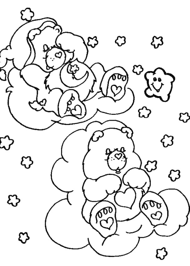 CARE BEARS coloring pages - Care Bears sleeping