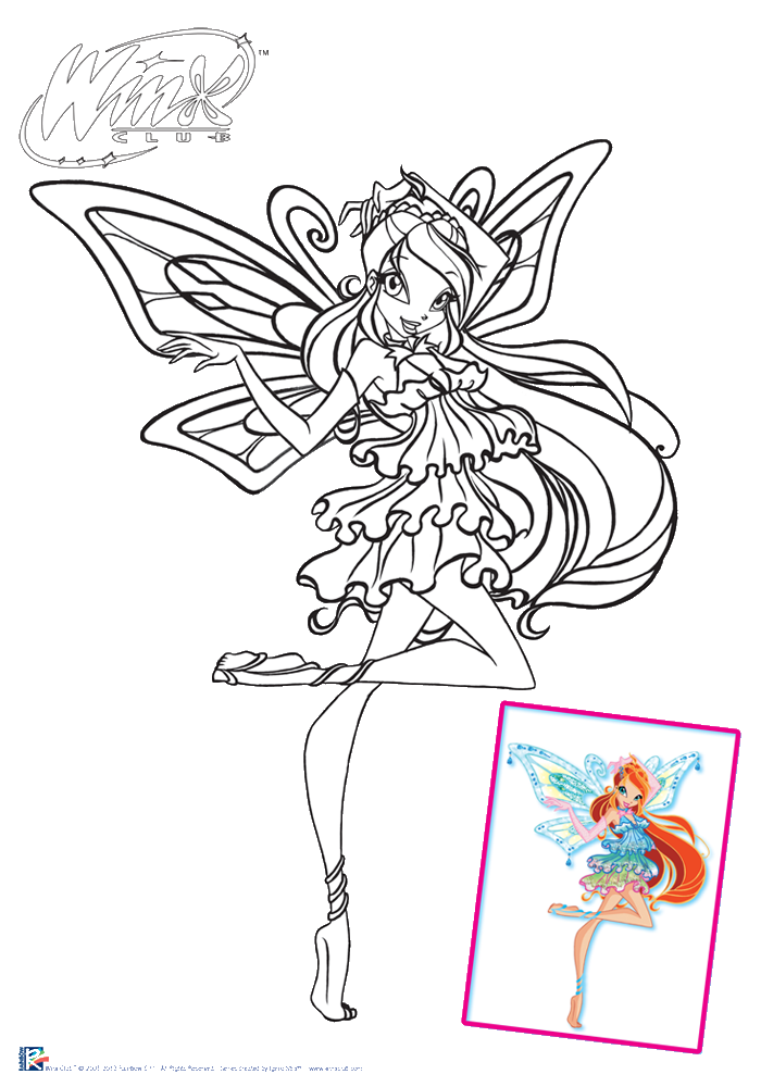 Pin Winx Club All Colorear Colorea A Flora Con Ropa De Playa