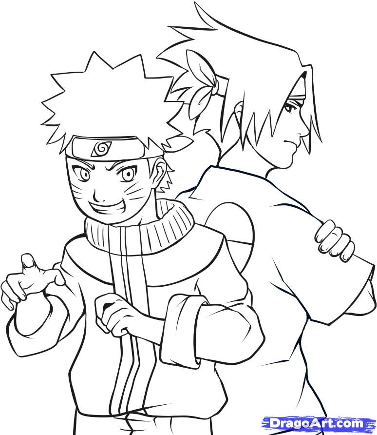 How to Draw Naruto and Sasuke, Step by Step, Naruto Characters
