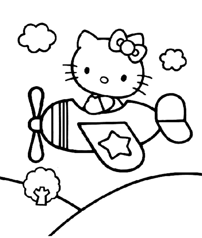 Hello kitty airplane coloring pages | Coloring Pages