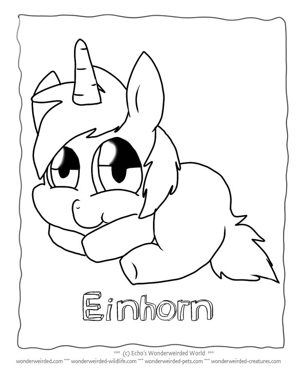 Unicorn Cartoon Coloring Pages, Echo's Free Unicorn Coloring