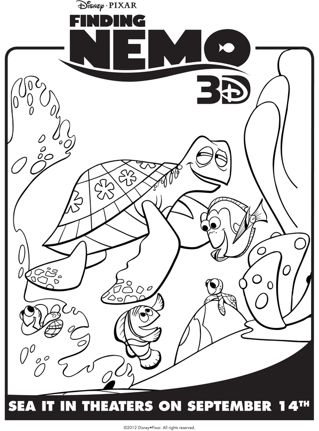 Finding Nemo's Marlin, Dory, & Crush - Free Printable Coloring Pages
