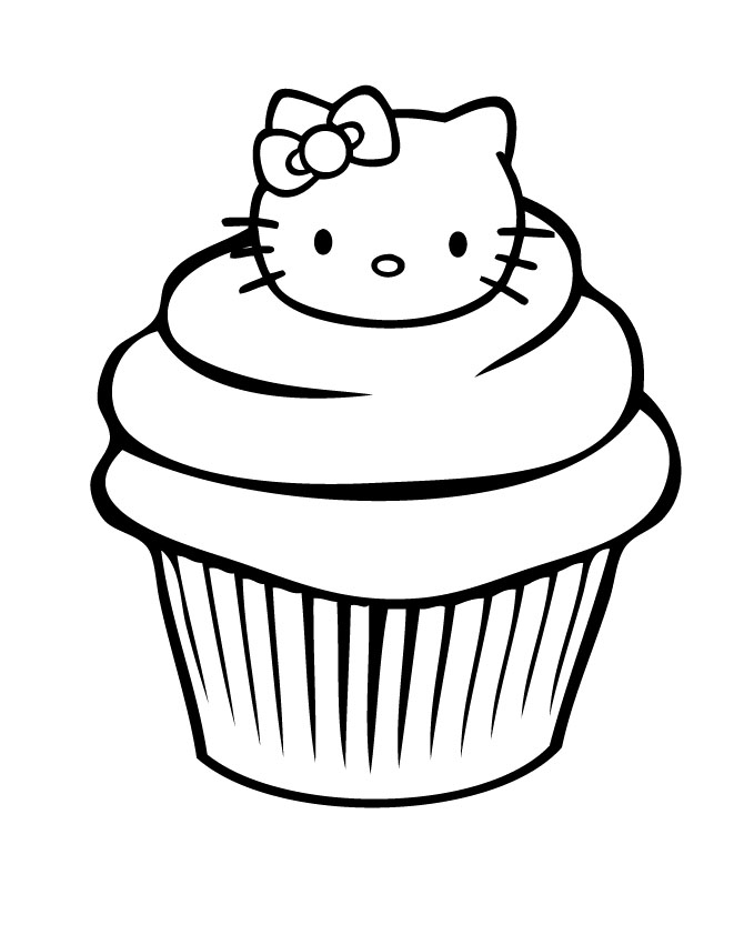 The Cupcake Display Hello Kitty Coloring Pages Cookie Coloring
