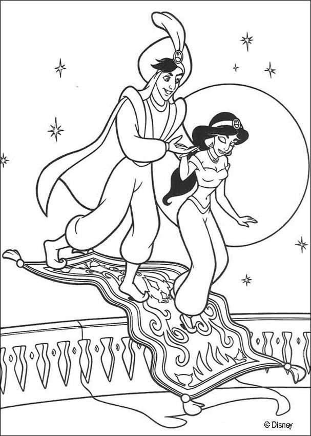 Aladdin coloring pages - Jasmine, Aladdin and magic carpet