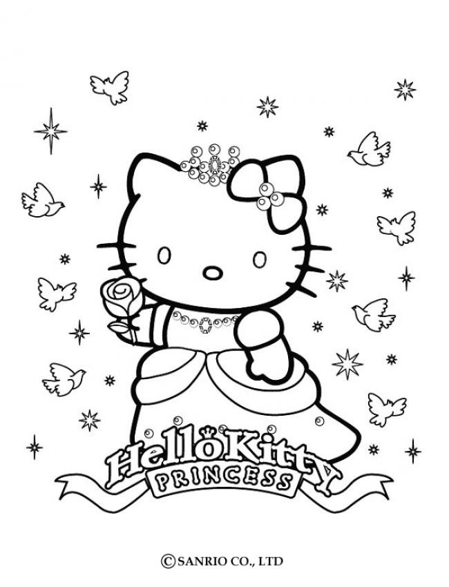 HELLO KITTY Ausmalbilder - PRINZESSIN KITTY kostenlos anmalen