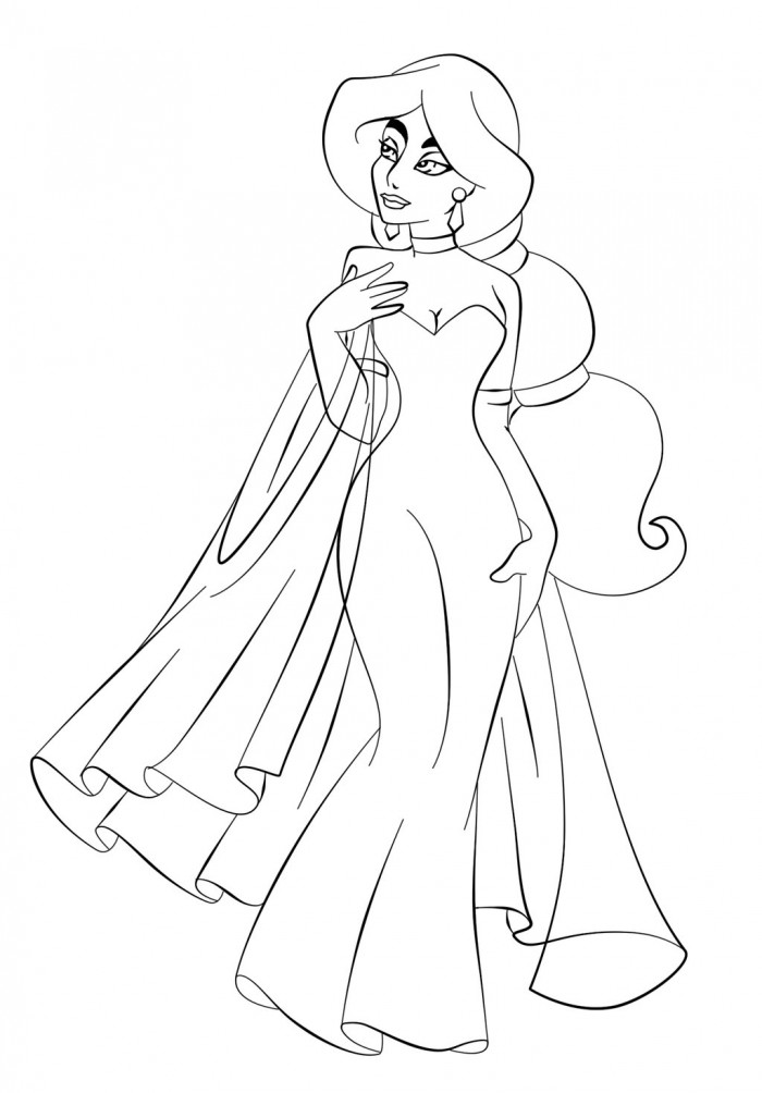 Jasmine in Beautiful Dress Coloring Page | Kids Coloring Page