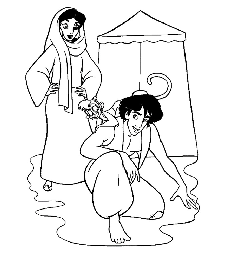 the Aladin pronces Colouring Pages (page 3)
