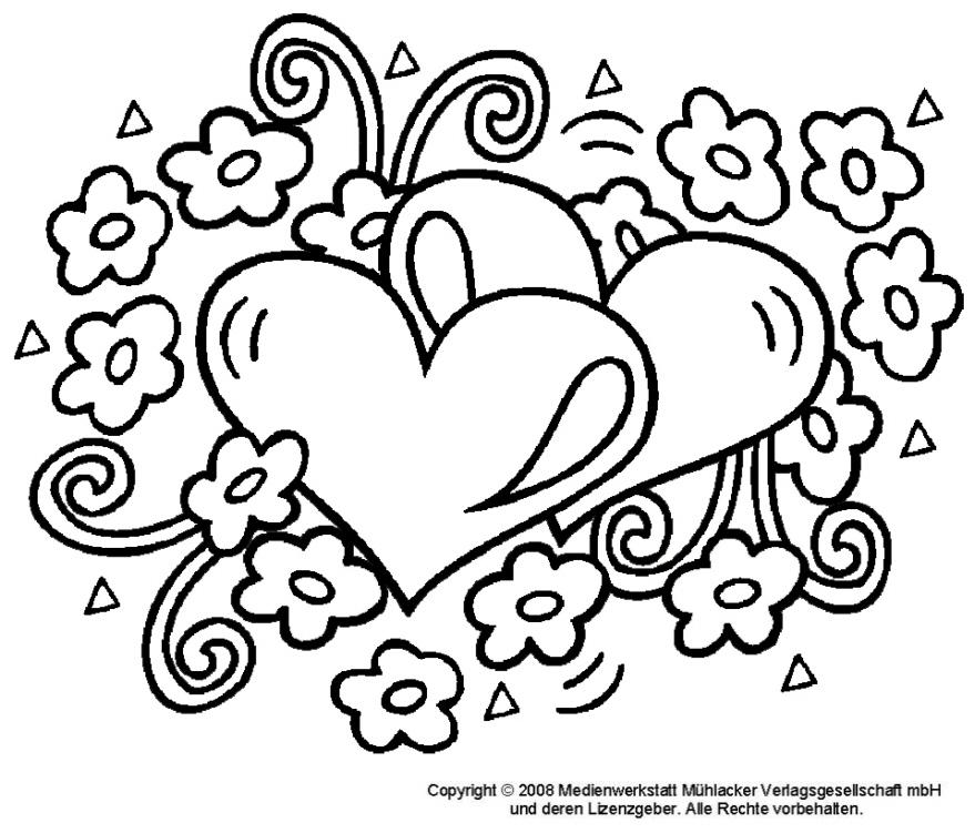 Herzen Blumen Ausmalbild - AZ Ausmalbilder