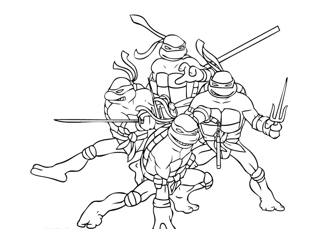 Four Ninja Turtle Combat Ready Coloring Page Teenage Mutant Az