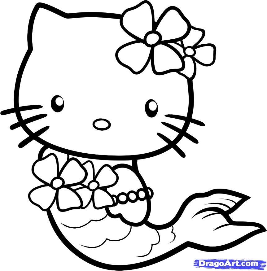 How to Draw Mermaid Hello Kitty, Step by Step, Characters, Pop