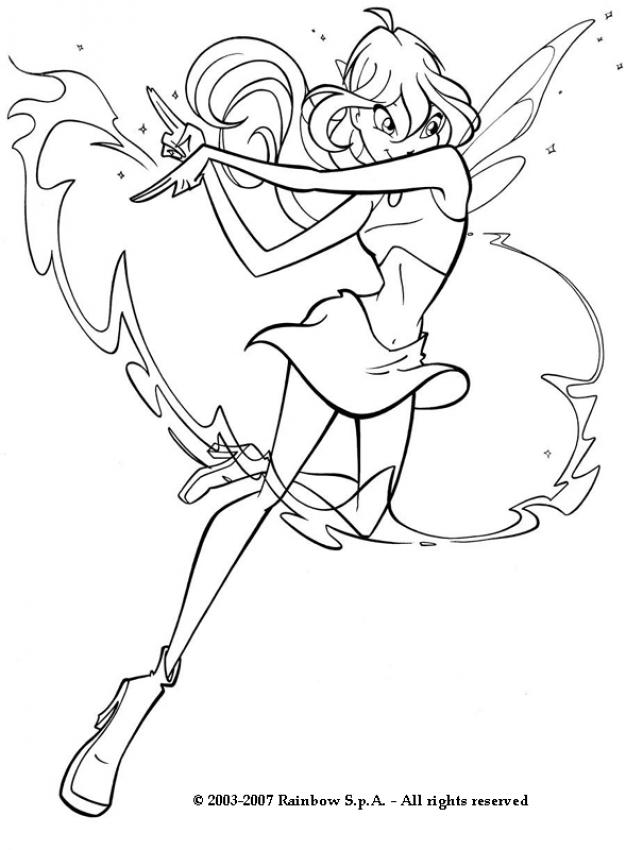 BLOOM coloring pages - Winx fairy Bloom
